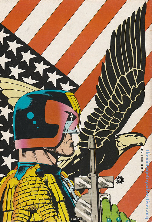 France. Judge Dredd 4. 1983. Brian Bolland back cover art for Judge Dredd.