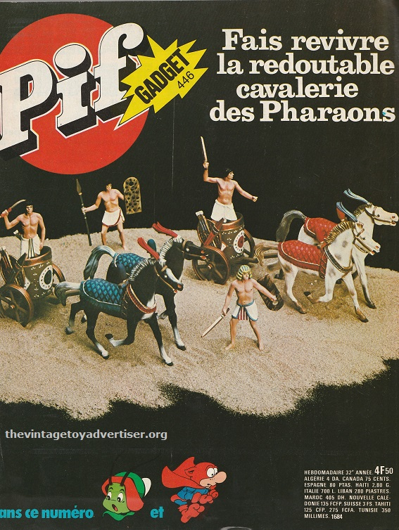 The cover of Pif Gadget #446 Sept 1977. Pif Gadget featured many adverts from Atlantic and even devoted one of its covers to the Egyptian series line of figures.