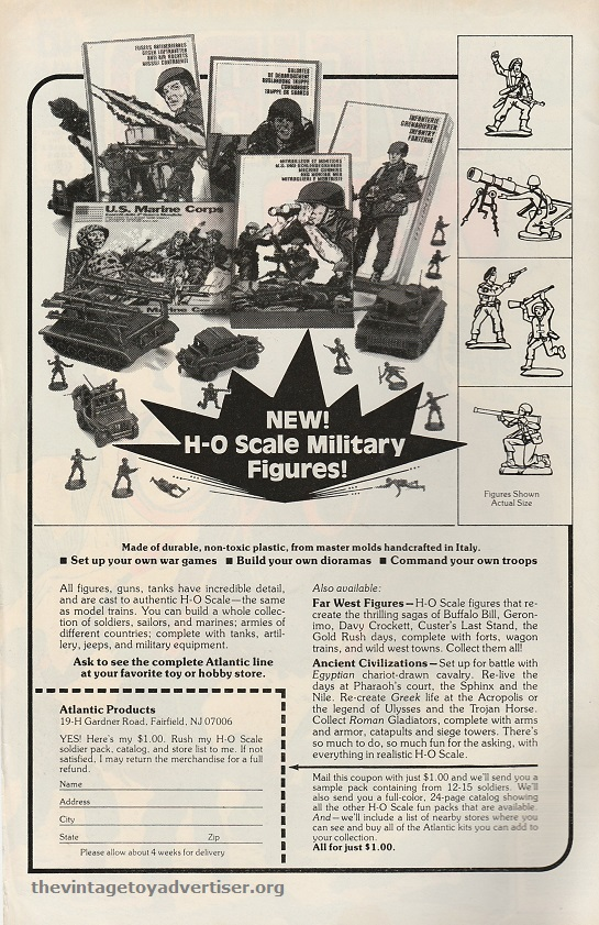 US. Wird War Tales. 1979. This is the first non-european Atlantic ad I've added to my collection. It features US Marine figures and also gives mention to the 'Ancient Civilisations' and 'Far West' sets.