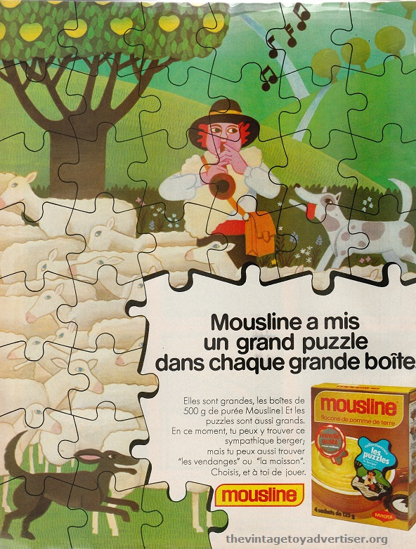 Mousline instant potato granules. Collect free mini-jigsaws with promotional packs. 1979. Pif Gadget. France.