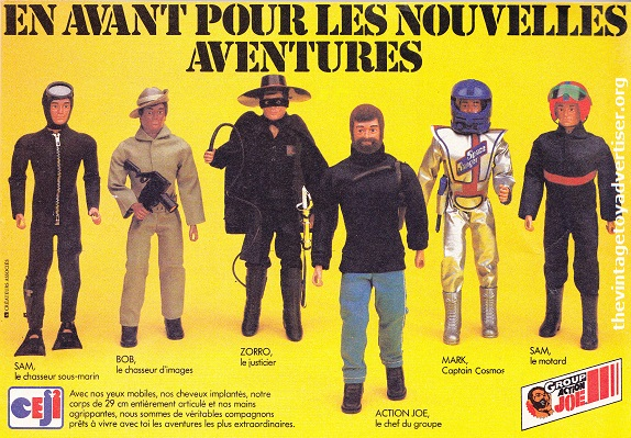 France. Pif Gadget. 1981. This ad features 'Mark' dressed in the 'Captain Cosmos' cosmos and the exclusive 'Zorro' especially licensed for the Action Joe range.