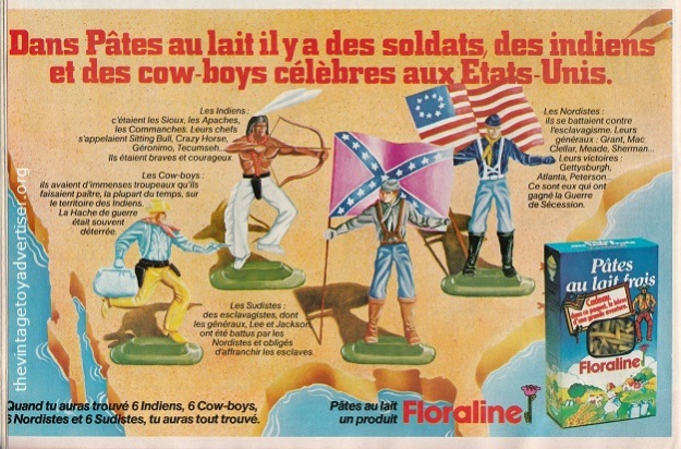 Floraline pasta. Collect free soldiers and cowboy and Indians figures. 1979. Pif Gadget. France.
