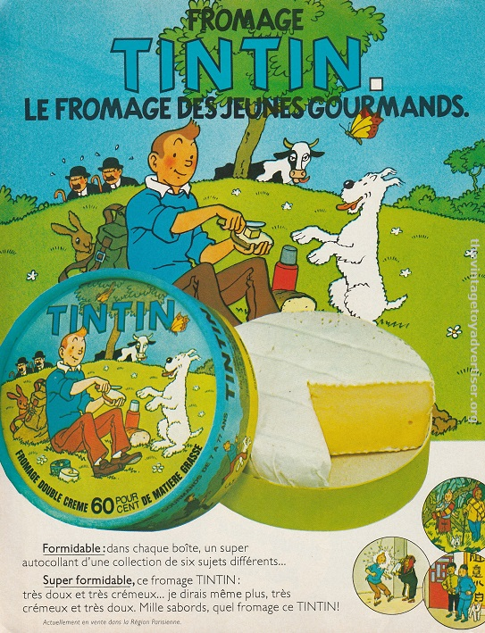 Tintin fromage. Offer to collect free stickers with promotional packs. 1978. Pif Gadget. France.
