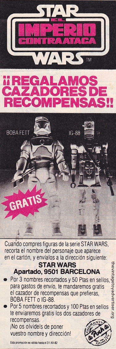 Spain. 1980. Star Wars El Imperio Contraataca 12 inch Boba Fett and IG-88 figures.
