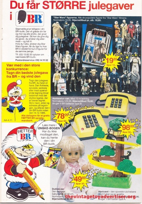 Denmark. Anders. 1985. Loose figures and MOC packaging on this toy page ad from BR.