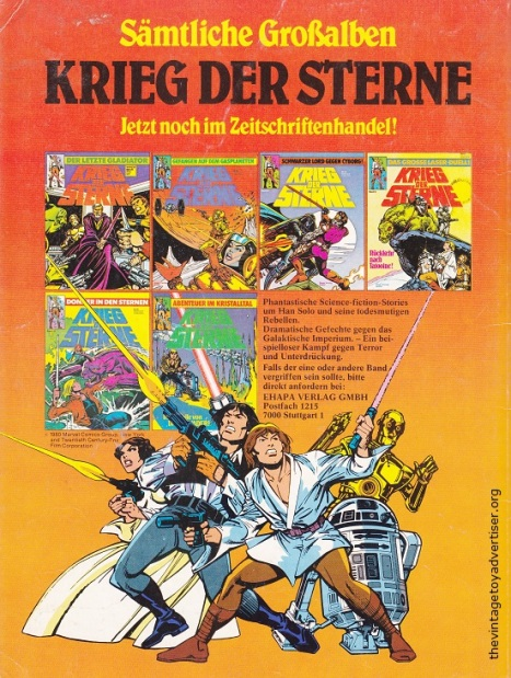 Germany. KDS. 1985. Advert for German Star Wars comics.