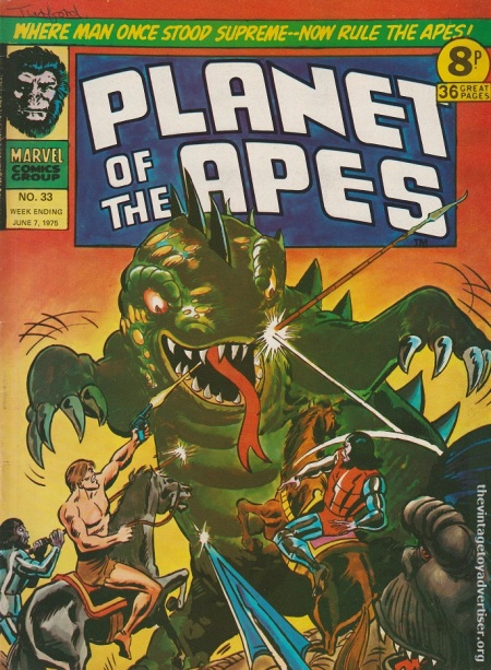 UK. Marvel. Planet of the Apes The Island out of Time. #33. 1975. Story by Doug Moench. Art by Rico Rival.
