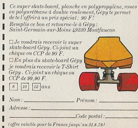 The cut out section of the Gepy advert shows an offer to buy a Gepy skateboard and tee-shirt.