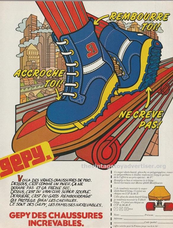 Gepy skateboard footwear. France. PIf Gadget #467. 1978.