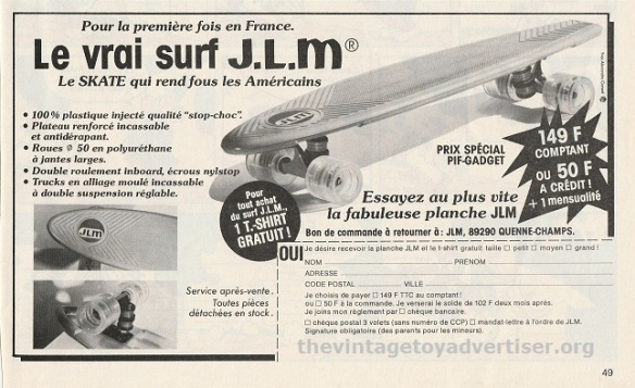 France. PIf Gadget #451. 1977. This J.L.M. promotions offers a FREE tee-shirt with each purchase of a skateboard.