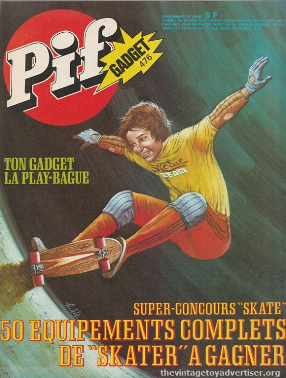 Pif Gadget #476 1978. Skateboard cover by French illustrator Auble.