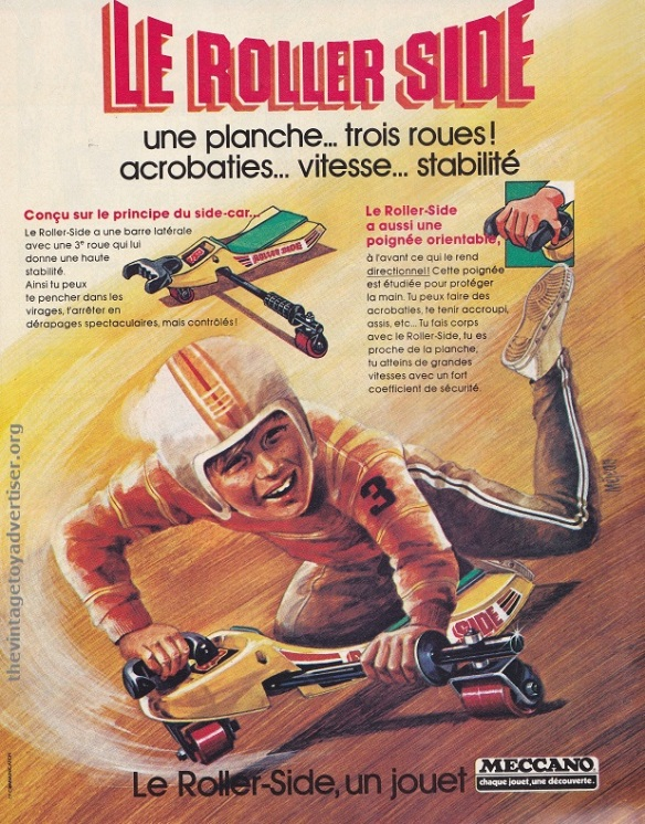 France. Pif Gadget. 1978. Le Roller-Side - also marketed as 'The Outrider' was not a skateboard but shared some similarities.