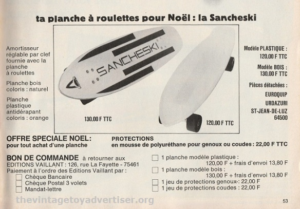 This Christmas promotion offers Sancheski boards either in plastic or wood as well as knee and elbow protection gear.