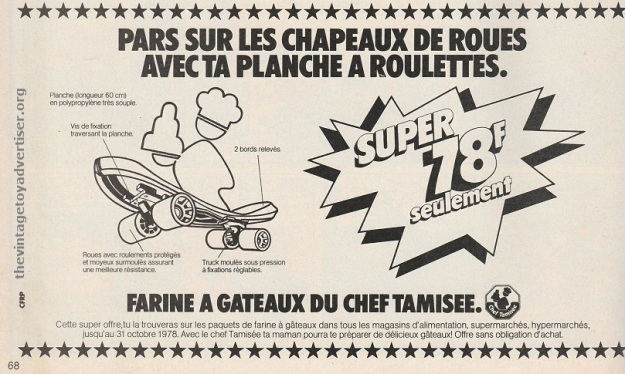 Skateboard offer from French company Chef Tamisee and their flour products.