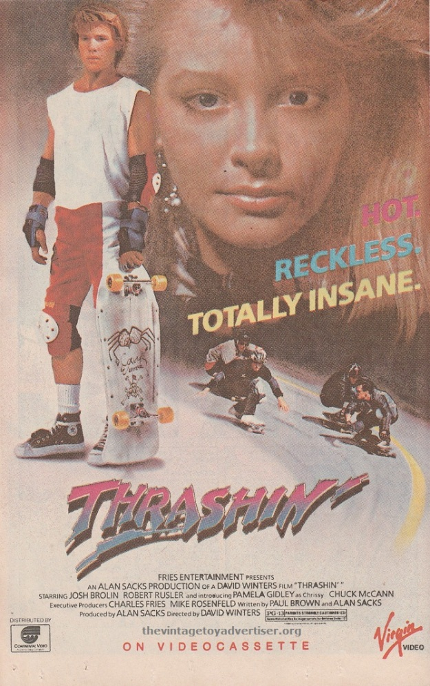 Thrashin'. Directed by David Winters. 1987 ad from Alpha Flight #47.