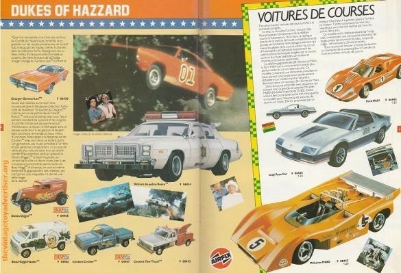 Dukes of Hazzard Snapfix kits by Airfix from the French edition Airfix catalogue 1983.