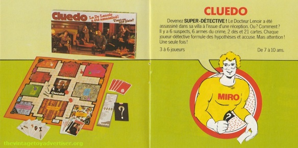 Cluedo. 1979 Miro-Meccano catalogue page.