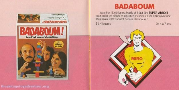 Badaboum. 1979 Miro-Meccano catalogue page.
