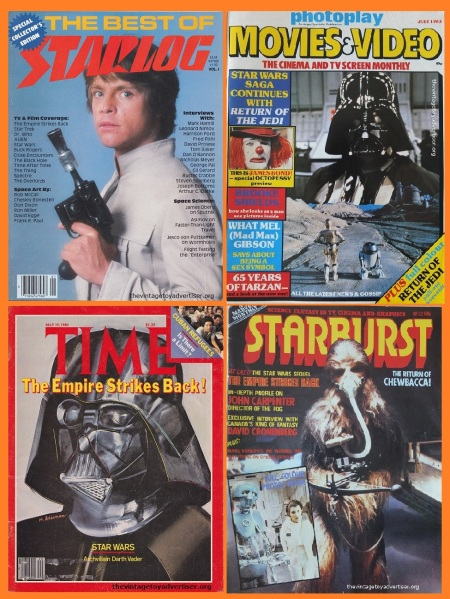 Vintage Star Wars magazines featuring Star Wars on the cover