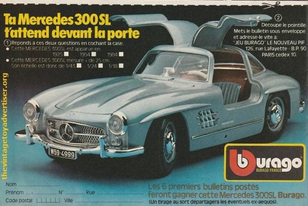 Bburago Mercedes 300 SL Pif Gadget 865 FR 1985