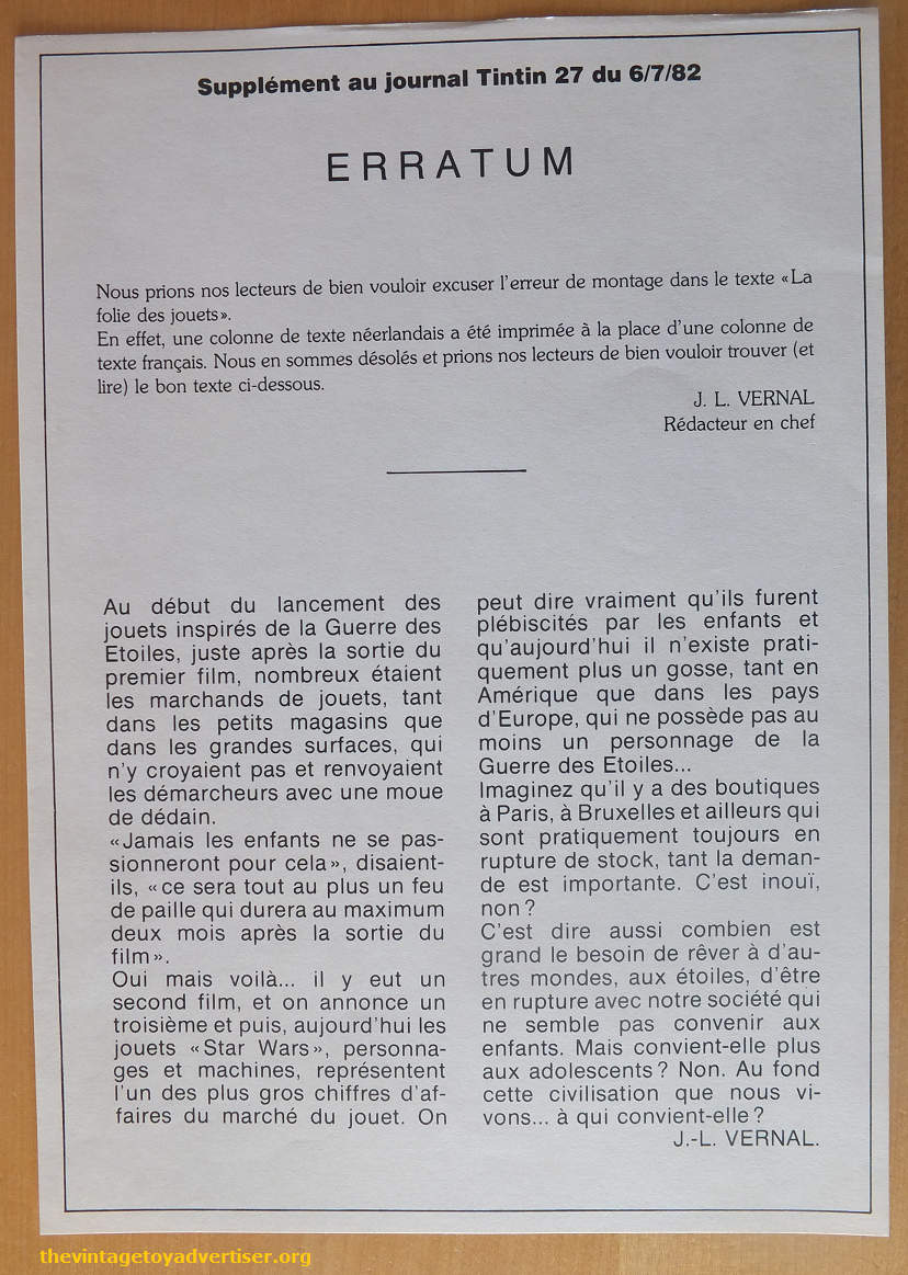 The erratum was included loose in the pages of the comic and showed the missing French text from the article on page 15.