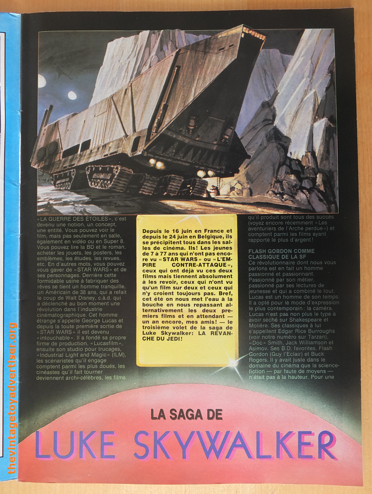Page 3. Movie talk. The article mentions the upcoming third part of the trilogy: 'La Revanche Du Jedi' which is the French translation for short-lived title 'Revenge of the Jedi' before it was changed to 'Return of the Jedi.'