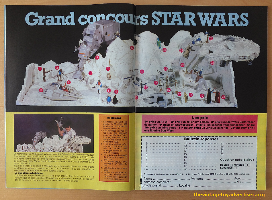 Pages 16 and 17 prize competition to win Star Wars toys. First prize was an AT-AT, second a Millenium Falcon, and third was a Darth Vader TIE Fighter. There were many additional prizes such as mini rigs and action figures.