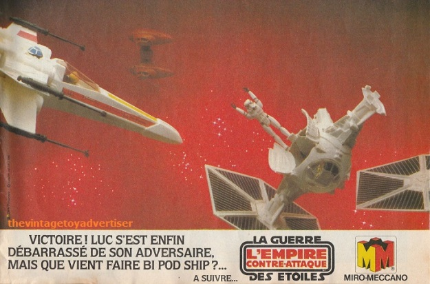 """""""Victory! Luke finally destroys the enemy. But, where is that Twin-Pod ship going?"""" Pif Gadget. 678. 1982."""