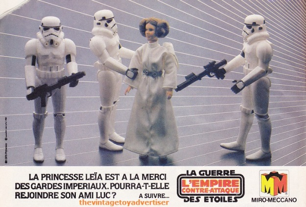 """""""Princess Leia is at the mercy of Imperial Stormtroopers. Will she be able to rejoin her friend Luke?"""" Pif Gadget 648. 1981."""