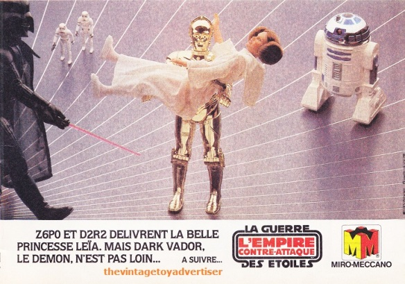 """""""C-3PO and R2-D2 free the beautiful Princess Leia, but Darth Vader the demon is not far."""" Pif Gadget. 650. 1981."""
