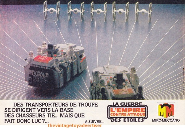 """""""Troop transporters are driving to the TIE Fighter base... but what is Luke doing?"""" Pif Gadget. 654. 1981."""