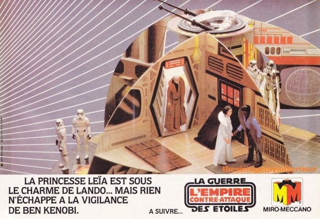 """Princess Leia is under Lando's charm... but nothing can escape Ben Kenobi's vigilance."" Pif Gadget. 672. 1982."