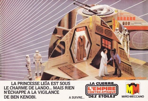 """Princess Leia is under Lando's charm... but nothing can escape Ben Kenobi's vigilance."" Pif Gadget. 672. 1982."