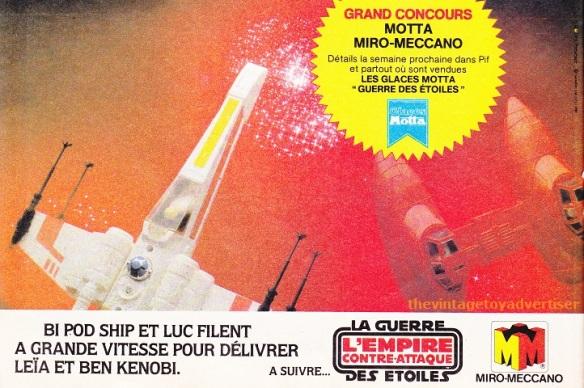 """Bi-Pod ship and Luke jump to light-speed to free Leia and Ben Kenobi."" Pif Gadget. 680. 1982."
