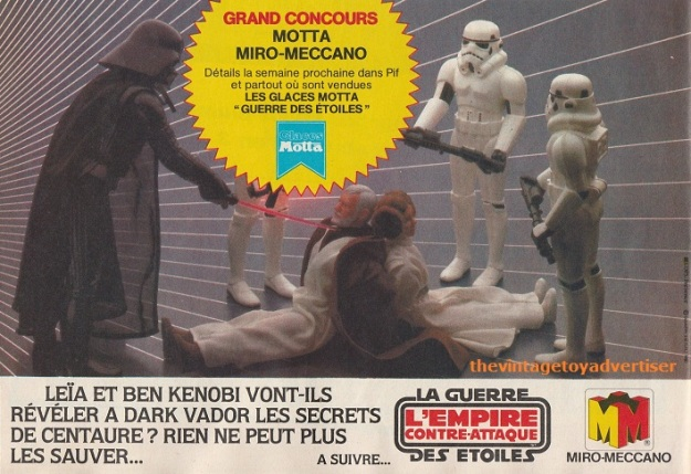 """""""Will Leia and Ben Kenobi reveal Centauri's secrets to Darth Vader? Nothing can save them now..."""" Pif Gadget. 682. 1982."""