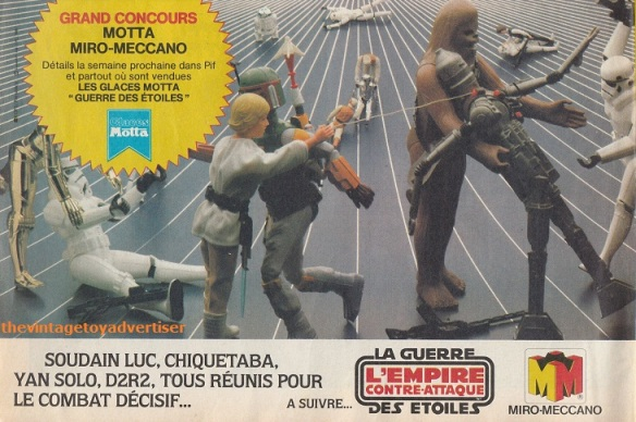 """""""Suddenly Luke, Chewbacca, Han Solo, R2-D2. All reunited for the decisive battle..."""" Pif Gadget. 684. 1982."""