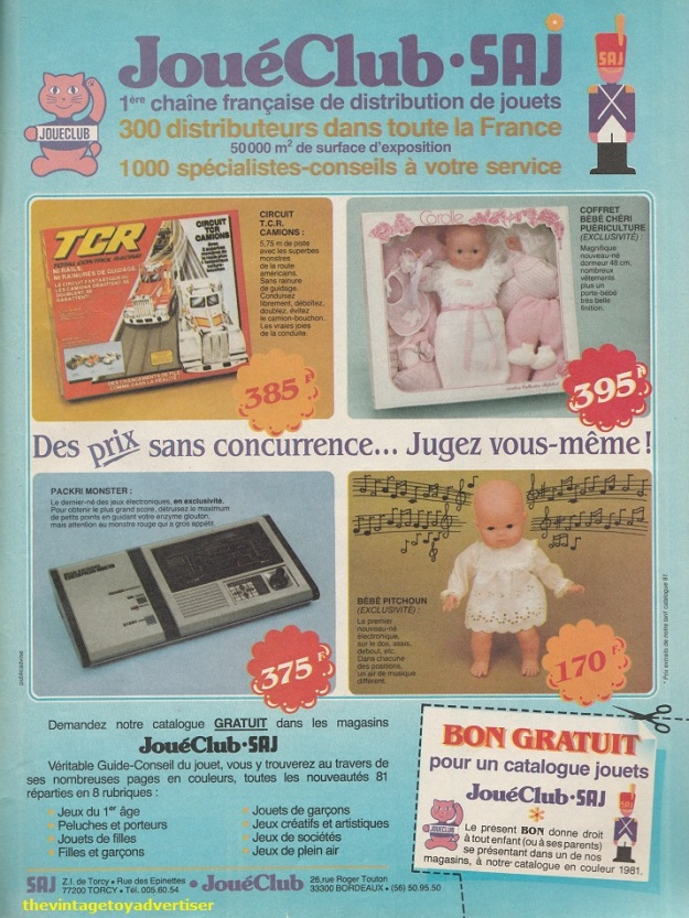 France. Pif Gadget. 1981. Joué Club advert featuring the Carolle Bébé Chéri and the Bébé Pitchoun dolls.