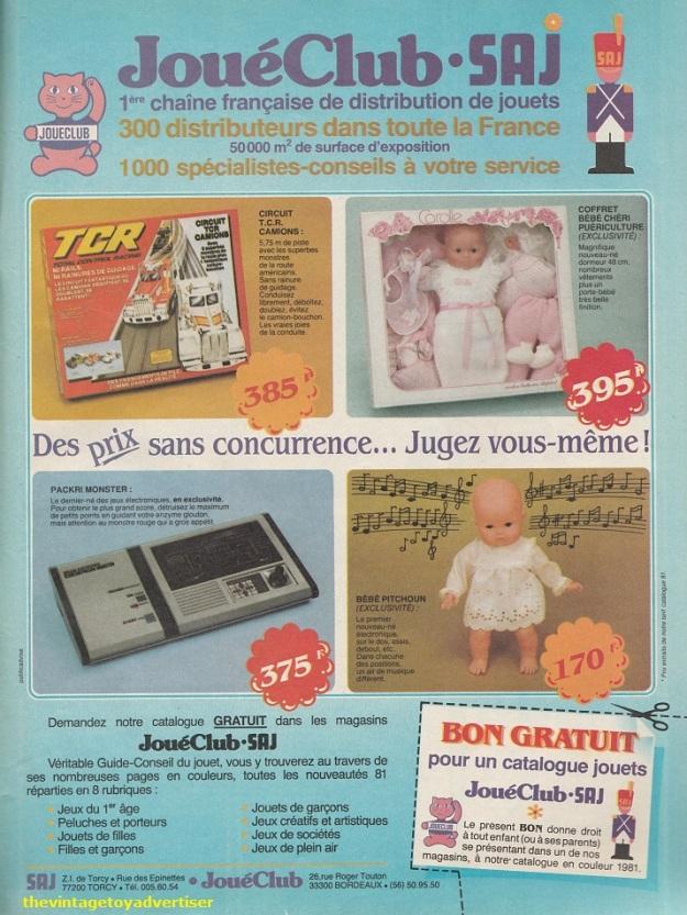 France. Pif Gadget. 1981. Joué Club advert featuring the Carolle Bébé Chéri and the Bébé Pitchoun dolls.