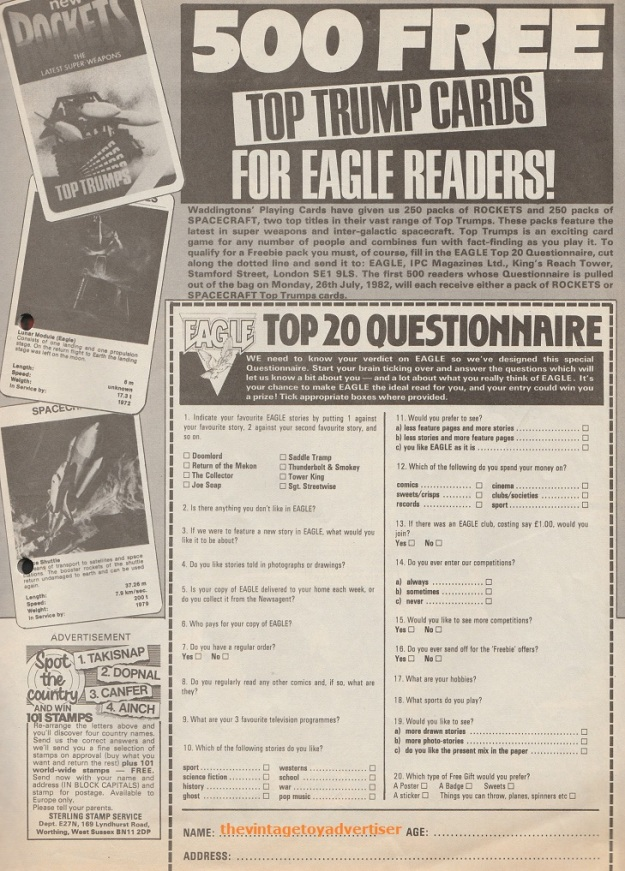 UK. Eagle. 1983. Eagle Comics competition with 500 packs of Top Trumps up for grabs.