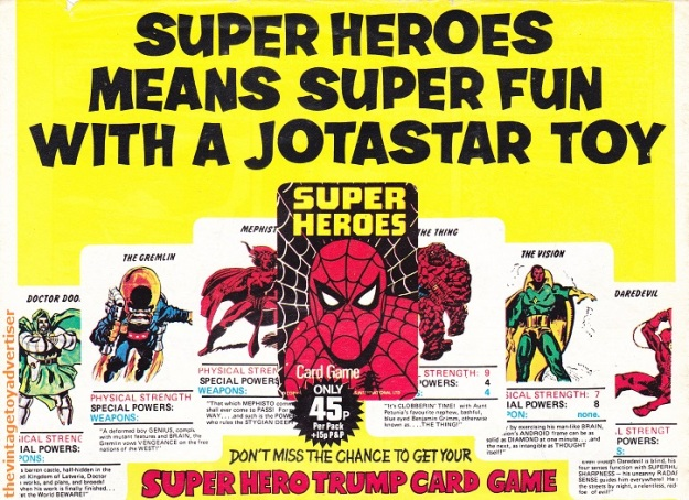 UK. The Mighty World Of Marvel. 1978. This 1978 UK Super Heroes card game by Jotastar is based on the Waddingtons' Top Trumps.