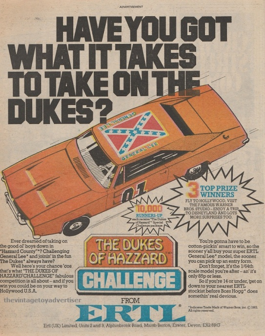 The Dukes of Hazzard Challenge. Ertl. UK advert, 1983.