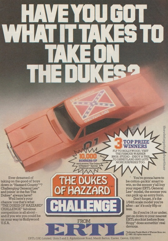 UK. Eagle. 1983. This advert appears to show an actual model of the General Lee and is a variant of the one above which shows an artist's impression.