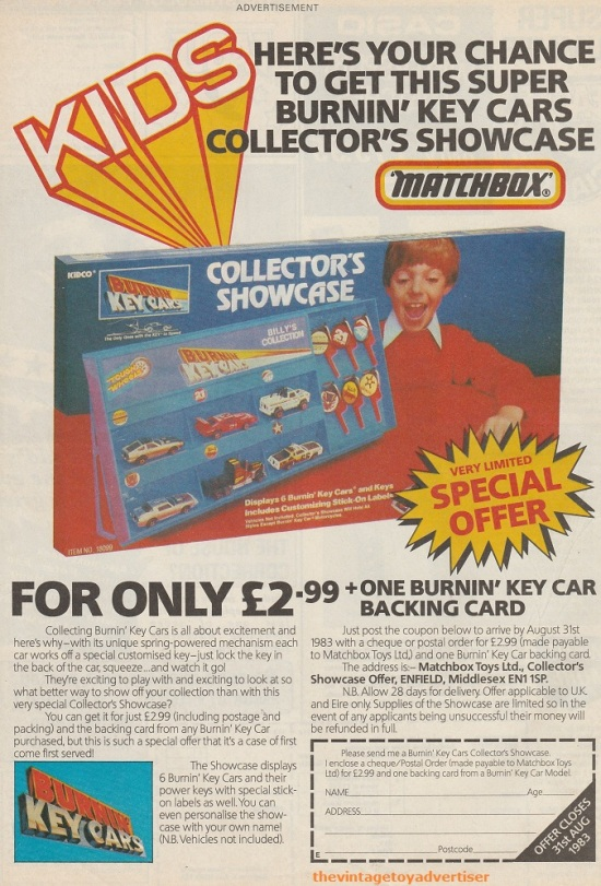 Matchbox Burnin' Key Cars special offer Collector's Showcase. UK. Eagle. 1983.