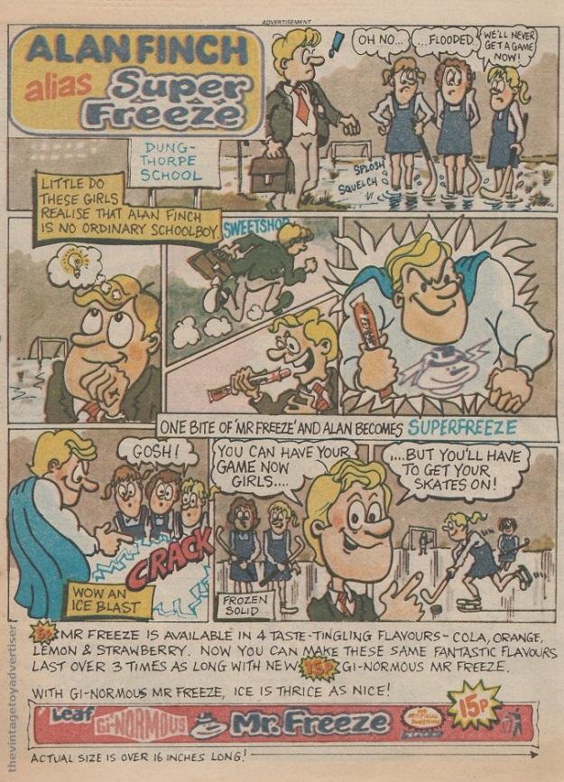 Mr Freeze 'Superfreeze' cartoon strip ad. UK. Eagle. 1984.