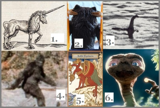 1. Of the Unicorn. Woodcut illustration from the book The History of four-footed Beasts and Serpents by Edward Topsell. 2. Black Wampa by TVTA. 3. Hoaxed photo of Loch Ness Monster. 4. Patterson–Gimlin film frame N°352 of Bigfoot. 5. Ivan Bilibin, 065, Zmey Gorynych, the Russian three-headed dragon. 6. E.T.