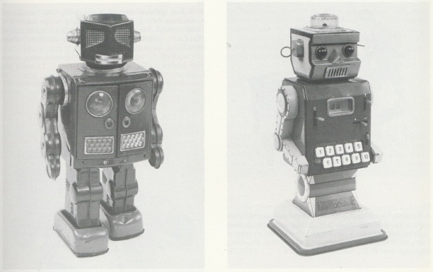 ATTACKING MARTIAN, battery operated tinplate robot, by Horikawa, Jaman, 1960s. ANSWERGAME, battery operated tinplate robot that executes simple mathematics, by Ichida, Japan, 1960s. From Christie's South Kensington auction catalogue. 1988.
