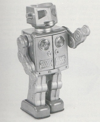 ATTACKING MARTIAN, battery operated plastic and tinplate robot, by Horikawa, Japan, 1960s. From Christie's South Kensington auction catalogue. 1988.