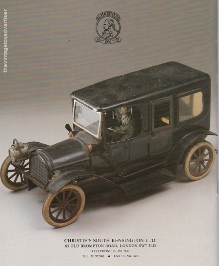 Rear cover: K. BUB LANDAULETTE, clockwork tinplate car. Germany, circa 1912. £1,500-2,500.
