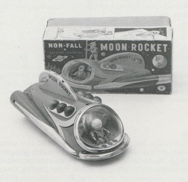 MOON ROCKET, battery operated tinplate spacecraft, by Masudaya, Japan, 1960s.