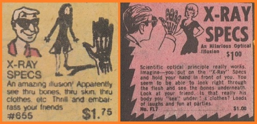 Typical X-Ray Specs adverts found in the back pages of comics in throughout the 60s and 70s.